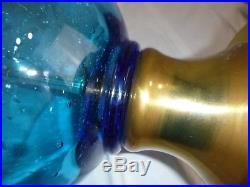 Vtg Mid Century Aqua Blue Art Glass Genie Bottle Shaped Lamp Controlled Bubbles