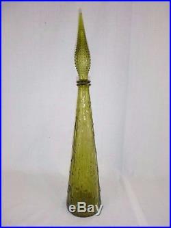 Vtg Mid Century Avocado Green Empoli Genie Bottle Decanter Bamboo Italy