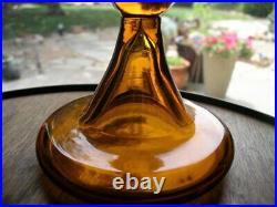 Vtg Mid-Century Blenko Decanter Wayne Husted Large Honey 561 with Stopper 22