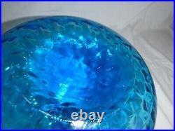 Vtg Mid Century Genie Bottle Decanter Turquoise Optic Glass Orb Stopper 13