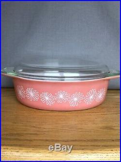 Vtg Mid Century HTF Pyrex Pink Daisy Oval Casserole Dish 2.5 Quart withLid #45