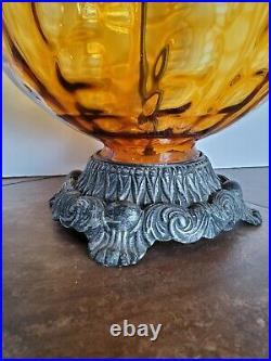 Vtg Mid Century Modern Amber Optic Glass Globe Table Lamp Hollywood