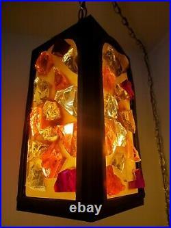 Vtg Mid Century Modern Chunk Glass SWAG Ceiling LIght Peter Marsh Nader style