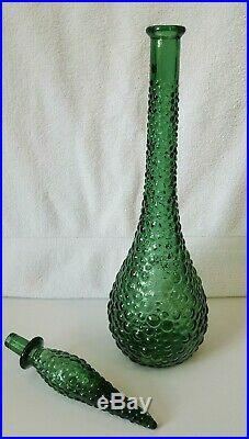 Vtg Mid Century Modern Empoli Glass Bubble Genie Bottle Decanter Emrld Green 22