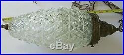 Vtg Mid Century Modern Hollywood Regency Teardrop Glass Hanging Swag Light 18