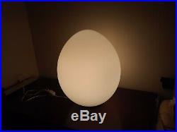 Vtg Mid Century Modern Laurel White Glass Table Egg Lamp 19'' high