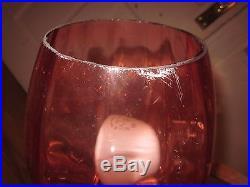 Vtg Mid-Century Modern Retro Teak, Brass Double Cranberry Glass Tulip Table Lamp