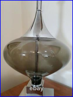 Vtg Mid Century Modern Smoke Glass Saucer UFO & Chrome Table Lamp