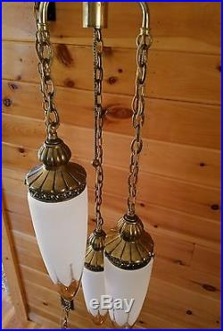 Vtg Mid Century Retro 3 Tier Frosted/Amber Glass Globes Hanging Swag Light Lamp