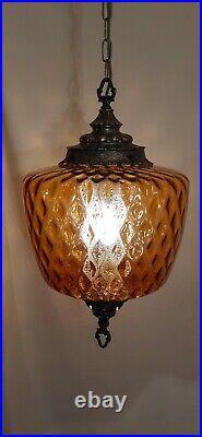 Vtg Mid Century Retro Hanging Swag Light/Lamp Amber Diamond Glass Design