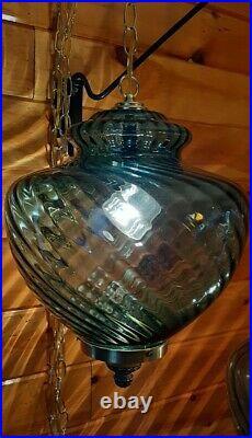 Vtg Mid Century Retro Hanging Swag Light/Lamp Blue Swirl Glass Design
