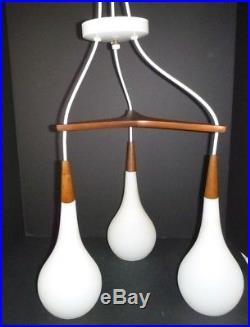 Vtg Mid Century Triple Pendant Teak Frosted Glass Ceiling Light Fixture Teardrop