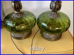 Vtg Mid Century modern Green Glass Brass Metal Table desk Lamps Pair mcm