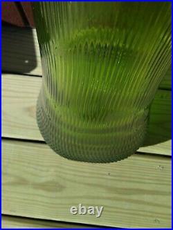 Vtg Midcentury LE SMITH Swung Glass Floor Vase Green Nubby-Butt Hobnail Base 39