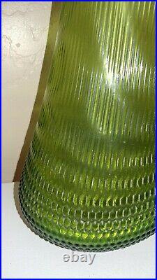 Vtg Midcentury LE SMITH Swung Glass Stretch Floor Vase Green Hobnail Base 30