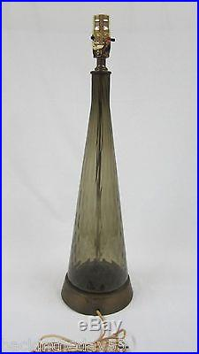 Vtg Murano Italy Table Lamp Hand Blown Smoke Swirl Art Glass Mid Century