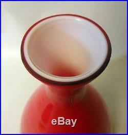 Vtg RAYMOR Italian Red Cased Glass Decanter Mid Century Mod Bar Empoli Murano