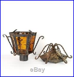 Vtg Spanish Revival Iron Lantern Light Lamp Mid Century Glass Pole Patio Garden