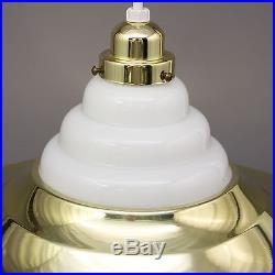Vtg Style 18 Mid Century Modern White Milk Glass Brass Cymbal Light Lamp