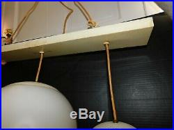 Vtg Triple Pendant Hanging Light Mid Century Modern Backdrop Bar Credenza Glass
