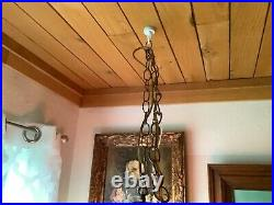 Vtg mid century modern retro Lamp Hanging Ceiling Swag Chandelier Stained Glass