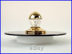 Wall or Ceiling Lamp Flush Mount Sconce Mirrored Glass Amber Vintage Mid-Century