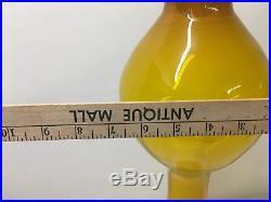 Wayne Husted BLENKO Giant Floor Rocket Decanter. Jonquille Yellow Mid Century