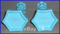 Westmoreland Glass BLUE MILK GLASS Pair DOLPHIN CANDLESTICKS Mid Century