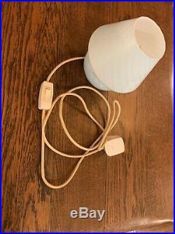 White Swirl Genuine Venini Murano Glass Mushroom Table Lamp, Mid-Century Modern