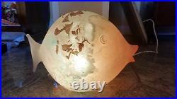 XXL Murano Signed Luigi Mellara Fish Glas Sculpture Lamp Rare MID Century Scavo